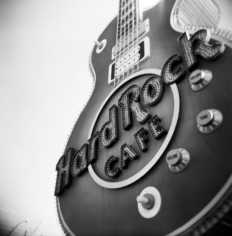 The Hard Rock Cafe sign in Las Vegas.